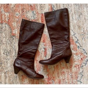 You by Crocs Brown Leather Tall Knee High Boots Size 10